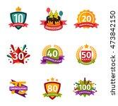 birthday badge banner design... | Shutterstock .eps vector #473842150