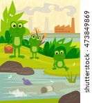 pollution   frogs on a picnic... | Shutterstock .eps vector #473849869