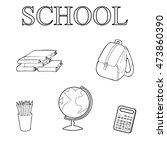 set of school elements contours ... | Shutterstock .eps vector #473860390