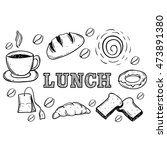 set of lunch food using hand...   Shutterstock .eps vector #473891380