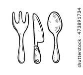 spoon pork and knife using... | Shutterstock .eps vector #473891734