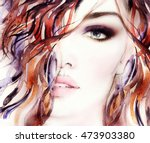 beautiful woman face. abstract... | Shutterstock . vector #473903380