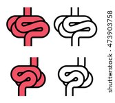 intestines simple symbol vector | Shutterstock .eps vector #473903758