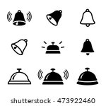 Set Of Bell Icons In Silhouett...