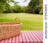 empty wicker basket on the... | Shutterstock . vector #473923093