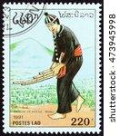 laos   circa 1991  a stamp... | Shutterstock . vector #473945998