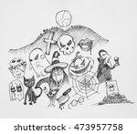 doodles draw halloween | Shutterstock . vector #473957758
