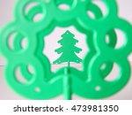 three plastic tree on a white... | Shutterstock . vector #473981350