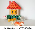 wooden house and plastic... | Shutterstock . vector #473983024