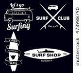set of vintage surfing graphics ... | Shutterstock .eps vector #473988790