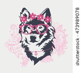 hipster wolf portrait with... | Shutterstock .eps vector #473989078