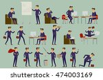 set illustration of businessman ... | Shutterstock .eps vector #474003169