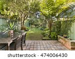 back yard with outdoor seating... | Shutterstock . vector #474006430