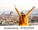 young female tourist with... | Shutterstock . vector #474019549