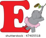 Letter E With An Elephant