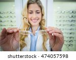 smiling female optometrist...   Shutterstock . vector #474057598