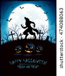 blue halloween background with... | Shutterstock .eps vector #474088063
