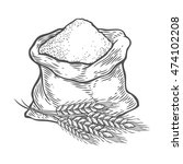 sack with whole flour or sugar...   Shutterstock .eps vector #474102208