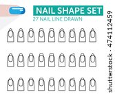 27 nail line drawn with french... | Shutterstock .eps vector #474112459