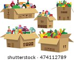 goods in cardboard boxes. | Shutterstock .eps vector #474112789