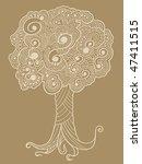 sketch henna doodle tree vector | Shutterstock .eps vector #47411515