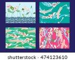 set hand drawn vector seamless... | Shutterstock .eps vector #474123610