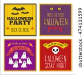 set of flat halloween cards and ...   Shutterstock .eps vector #474131599