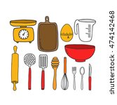 doodle icons. kitchen... | Shutterstock .eps vector #474142468