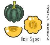 acorn squash cartoon vector...   Shutterstock .eps vector #474150238