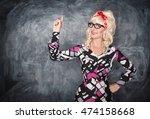 retro teacher showing on... | Shutterstock . vector #474158668