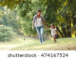 mother and daughter playing and ... | Shutterstock . vector #474167524