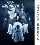 ghost with horror house | Shutterstock .eps vector #474174190
