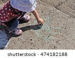 child drawing a chalk on asphalt | Shutterstock . vector #474182188