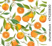 seamless floral pattern. orange ... | Shutterstock .eps vector #474200830