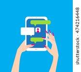 women's hand holding smart... | Shutterstock .eps vector #474216448