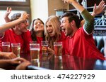 Stock photo sport people leisure friendship and entertainment concept happy football fans or friends 474227929