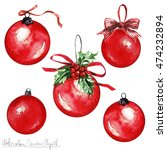 watercolor christmas clipart  ... | Shutterstock . vector #474232894