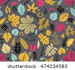 autumn seamless pattern with... | Shutterstock .eps vector #474234583