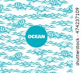 ocean seamless pattern with... | Shutterstock .eps vector #474237109