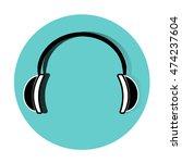 earphones on blue background | Shutterstock .eps vector #474237604