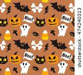 halloween cartoon seamless...   Shutterstock .eps vector #474240313