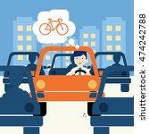urban traffic jam concept...   Shutterstock .eps vector #474242788