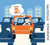 urban traffic jam concept...   Shutterstock .eps vector #474242794