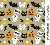 halloween cartoon seamless... | Shutterstock .eps vector #474243403