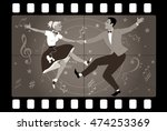 couple dancing 1950s style rock ...   Shutterstock .eps vector #474253369