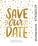 save our date with confetti... | Shutterstock .eps vector #474260119