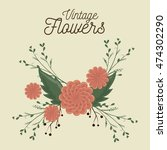 vintage flowers decoration icon ... | Shutterstock .eps vector #474302290
