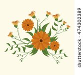 vintage flowers decoration icon ... | Shutterstock .eps vector #474302389