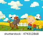 cartoon happy and funny scene... | Shutterstock . vector #474312868