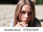 portrait of a beautiful sad... | Shutterstock . vector #474327604